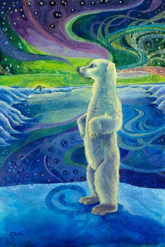 """Native American Folklore Art, Native American Art,Wildlife Bear Painting """"THE LEGEND OF AURORA BOREALIS"""" by Nancee Jean Busse, Painter of the American West"""