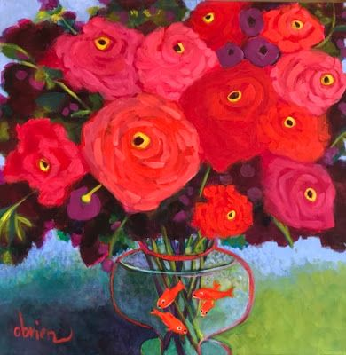 "Contemporary Expressionist Still Life Flower Art Painting ""Henri's Roses"" by Santa Fe Artist Annie O'Brien Gonzales"