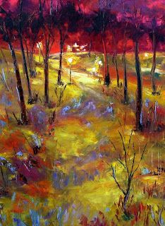 """Palette Knife Abstract Landscape Painting """"Mid Winter"""" by Texas Artist Debra Hurd"""