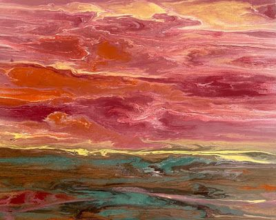"Abstract Landscape, Sunset Painting, Contemporary Landscape ""Harmonious Reflections"" by International Contemporary Artist Kimberly Conrad"
