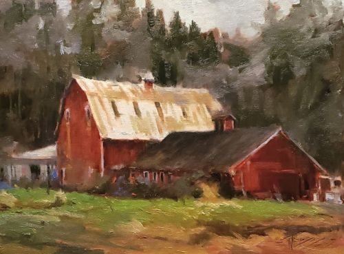 """""""Northwest Barn"""" Landscape painting by Robin Weiss"""