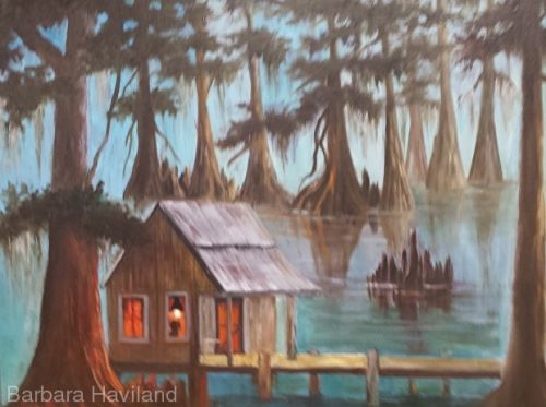 Fontenot's Cabin, oils,canvas,Barbara Haviland,Texas Landscape Artist