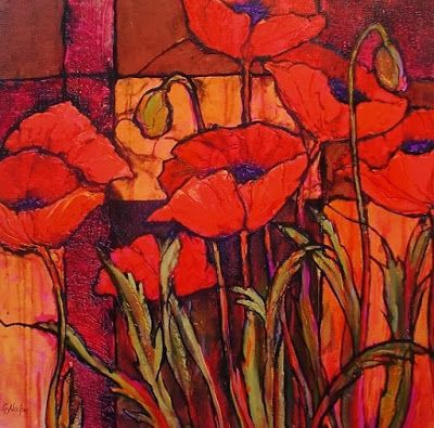 """Flower Art Painting """"Seven Poppies"""" by Colorado Mixed Media Abstract Artist Carol Nelson"""