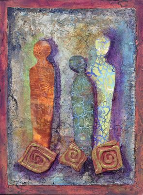 "Abstract Figurative Art, Contemporary Art, Mixed Media, ""Moon Shadows"" by Santa Fe Contemporary Artist Sandra Duran Wilson"