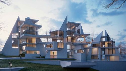 Complex Geometric Compositions as Houses on the Scenic Lands of Alanya