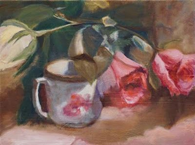 "Still Life Painting, Pink Roses, Tea Cup, Fine Art Oil Painting ""Rose Tea"" by California Artist Cecelia Catherine Rappaport"