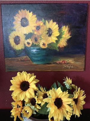 "Expressive Still Live Floral Painting, Colorful Original Flower Art, ""YOU ARE MY SUNSHINE; MY ONLY SUNSHINE!"" by Texas Contemporary Artist Jill Haglund"