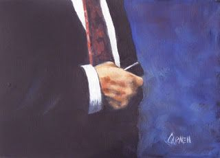 I Phone, Therefore I Am, 5x7 Oil on Canvas Panel, Businessman with Phone, Figurative Art
