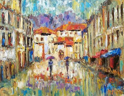 "Street Scene Cityscape, Rainy City, Fine Art Oil Painting ""Morning Rain"" by Texas Artist Debra Hurd"