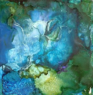 Abstract Painting, Alcohol Ink 'The Waters:Their Creatures' by New Orleans Artist Lou Jordan