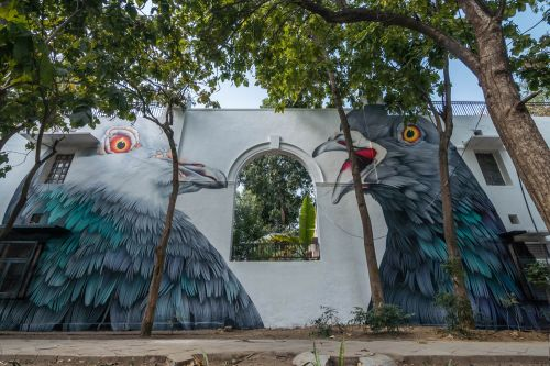 A Pair of Two-Story-Tall Pigeons Make a Home in Delhi During This Year's Lodhi Art Festival