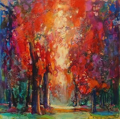 "Colorful Contemporary Landscape Painting, Abstract Landscape, Autumn Trees ""Bathed in the Glow"" by Passionate Purposeful Painter Holly Hunter Berry"