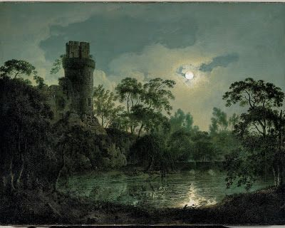 Joseph Wright of Derby, Lake by Moonlight with Castle on Hill