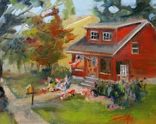 House with Flag and Flowers