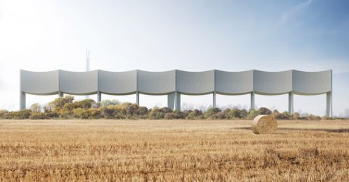 White Arkitekter Reinvents the Water Tower Typology with Horizontal Concave Facade