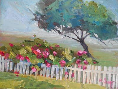 Ocracoke Garden, Small Oil Painting, Daily Painting, Original Wall Decor, Outer Banks, NC