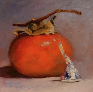 """Persimmon Kiss"" still life painting by Robin Weiss"