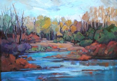 Colorado River, Impressionist Landscape, Mountain Landscape, Trees, Fine Art Oil Painting