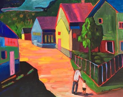 """Contemporary Landscape Painting, Expressionist Landscape, Colorful Houses, Urban Art """"Morning Stroll"""