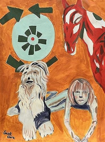 "Expressionist Portrait,Figurative, Dog,McCartney Family, Maybe I'm Amazed Series ""Heather and Martha"" by International Abstract Artist Amanda Saint Claire"