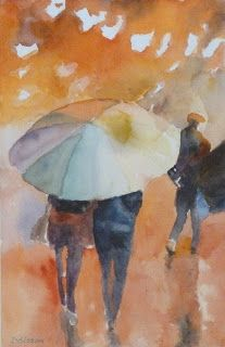 Outdoor Festival Watercolor Painting Figures Rain Umbrella Wet Weather Art