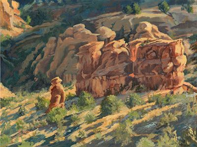 """Original Colorado Landscape Oil Painting """"PLEADING HIS CASE TO THE ELDERS"""" by Colorado Artist Nancee Jean Busse, Painter of the American West"""