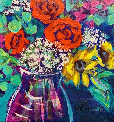 Expressive Still Live Floral Painting, Colorful Original Flower Art