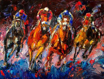 "Churchill Downs, Horse Race,Jockey, Fine Art Print ""Adrenalin"" By Debra Hurd"