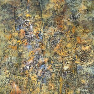 """Large abstract, contemporary, modern art painting, """"Organic Ground"""", by California artist Nancy Eckels"""