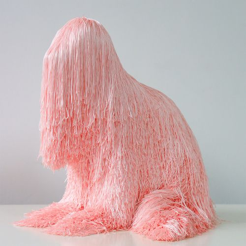 Swaths of Colorful Fringe Disguise Animalistic Sculptures by Artist Troy Emery