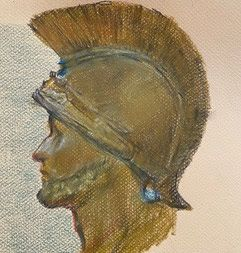 Head of an Ancient Soldier - oil pastel on paper