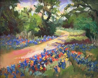 """New """"Texas Trails"""" Bluebonnet Oil Painting by Contemporary Impressionist Niki Gulley"""