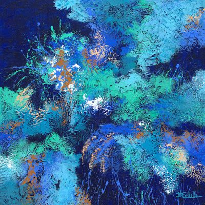 """Large abstract, contemporary, modern art painting, """"Splash and Splatter"""" by California artist Nancy Eckels"""