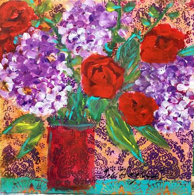 """Expressive Still Live Floral Painting, Colorful Original Flower Art, """"FLORAL TAPESTRY """" by Texas Contemporary Artist Jill Haglund"""