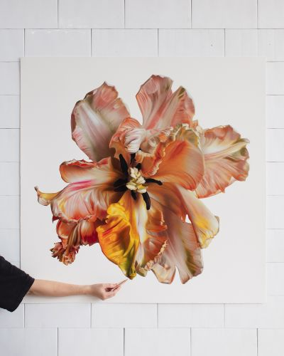 Silky Flowers Spring from CJ Hendry's Enormous Hyperrealistic Drawings in Colored Pencil