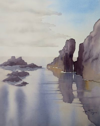 BLACK ROCK SANDS - step by step watercolour of landscape