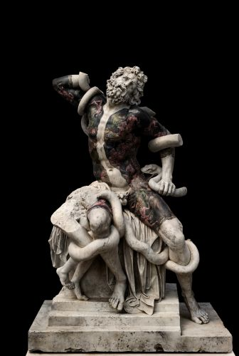 Iconic Marble Sculptures Tattooed with Inky Backdrops and Floral Motifs by Fabio Viale