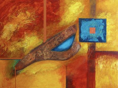 "Mixed Media Abstract Expressionism Painting, ""Desert Copper"" by Contemporary Arizona Artist Pat Stacy"