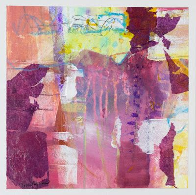 "Pink Art, Mixed Media Abstract Painting, Contemporary Art, Expressionism, ""Pretty In Pink II"" by Contemporary Artist Tracy Lupanow"
