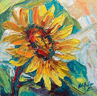 New Cheerful Sunflower Painting by Palette Knife Artist Niki Gulley