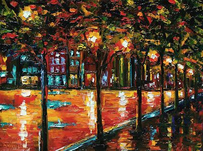 "Impressionist Landscape Painting, Palette Knife Painting ""Urban Trees"" by Texas Artist Debra Hurd"