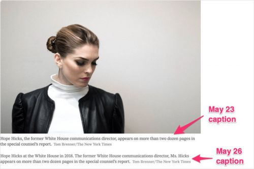 The NYT's Poor Caption and Dubious Image Selection of Hope Hicks