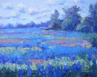 Texas Blues, New Contemporary Landscape Painting by Sheri Jones
