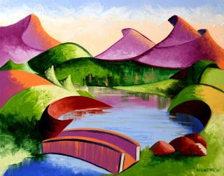Mark Webster - Abstract Geometric Mountain Bridge Landscape Oil Painting