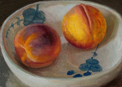 Peaches in a bowl, still life oil painting fruit daily painting original a painting a day