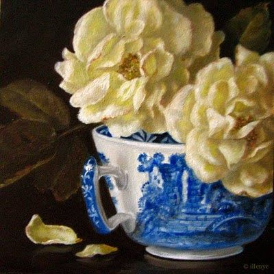 Butter Yellow English Roses in Spode Blue Italian Teacup 5x5 in. oil painting still life