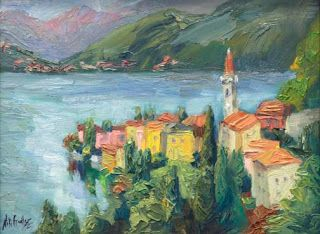 """Varenna View"" Lake Como Oil Painting by Contemporary Impressionist Niki Gulley"