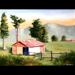 Mark Webster - New Zealand Landscape with Barn Oil Painting - Virtual Paintout