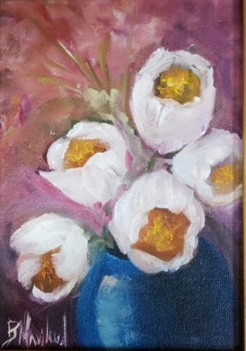 White Tulips in Vase, flora, flowers, Barbara Haviland