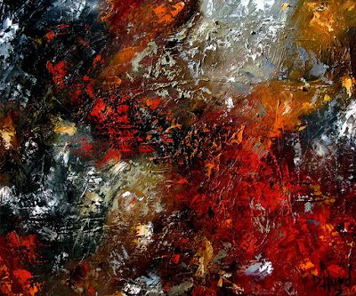 """Abstract Oil Painting, Expressionism, Contemporary Art for Sale, """"Reaction"""" by Texas Artist Debra Hurd"""